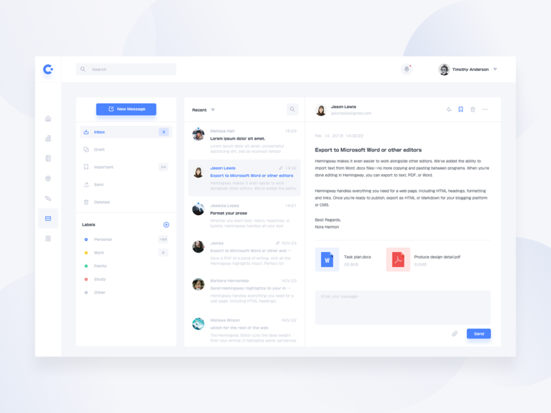 Email Dashboard ux chat message dashboard clean app web ui email