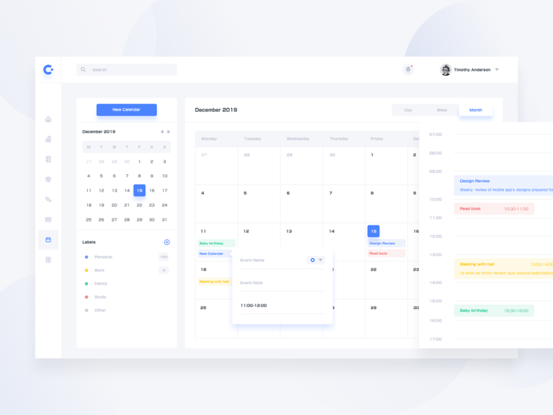 Calendar Day And Month event month day app ui ux web dashboard clean calendar
