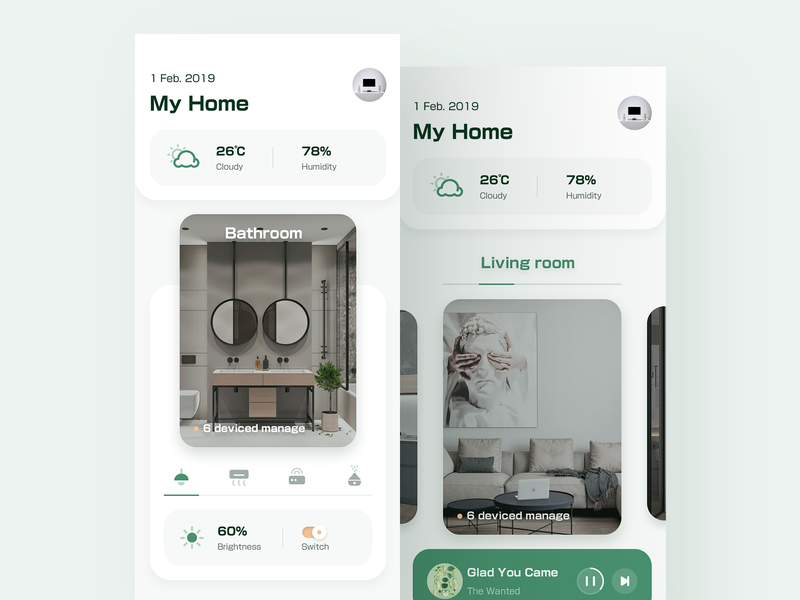 Smart Home 1 web air conditioning light clean ux ui weather music living room app smart home
