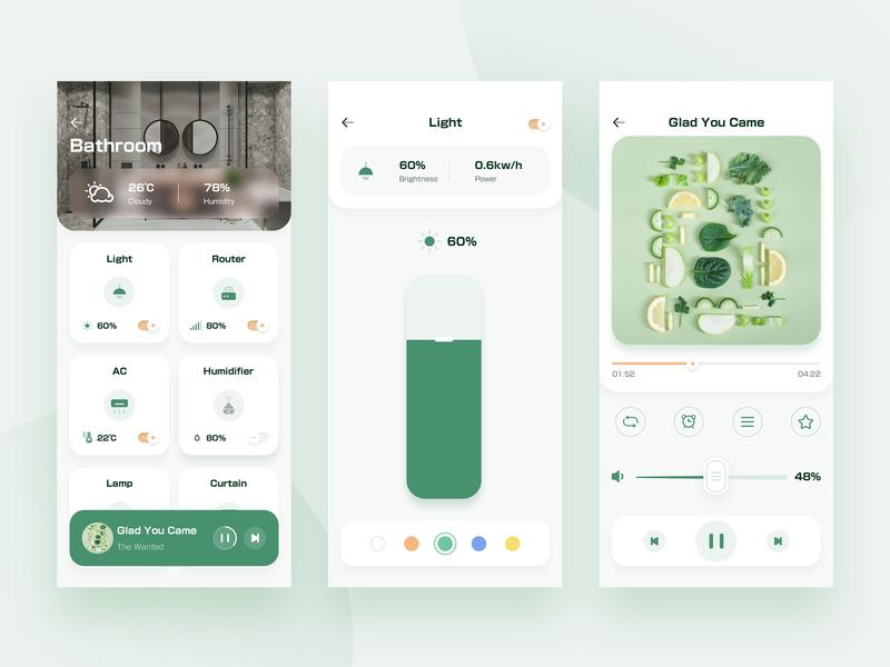 Smart Home 3 clean dashboard app web ui ux home music smart home app light