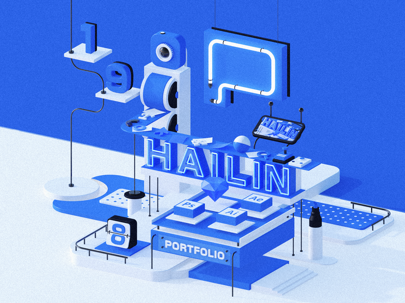 Weihailin Portfolio illustration ui ux clean portfolio c4d cinema 4d web