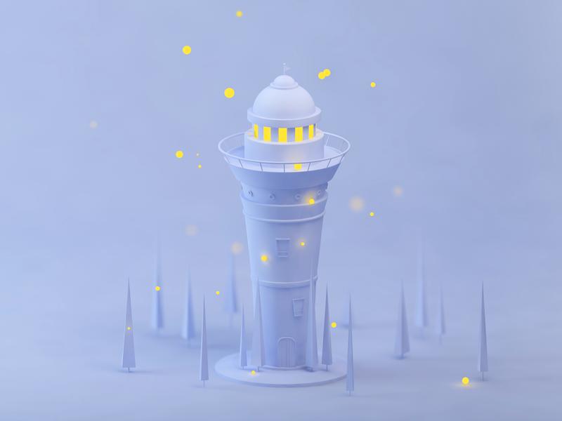 Lighthouse ux ui illustration clean lighthouse cinema 4d 3d
