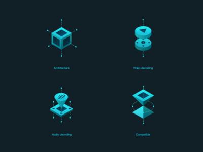 icon characteristic 2.5d icon compatible audio video 3d ux ui illustration clean app web