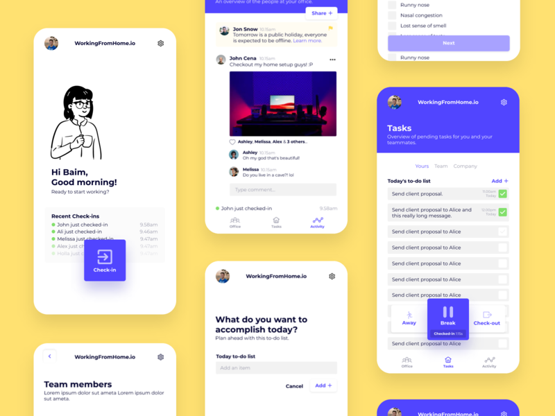 Simple Working From Home App (WIP) character task todo checkout checkin dashboard design ui card illustration minimal simple flat