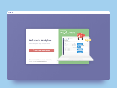 Login Page - Supahands Workplace 2.6 sign in laptop illustration simple card green google login