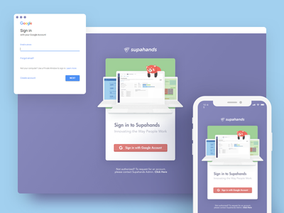 Login Page : One login to rule them all! sign in minimal gradient laptop illustration simple card green google login