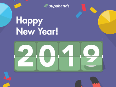 Happy New Year 2019! branding cute countdowntimer countdown party confetti flat typography design card illustration simple minimal