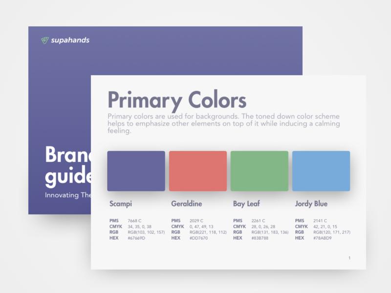 Brandbook : Supahands Brand Guidelines illustration character font design logo brandbook font color branding design pastel minimal simple flat