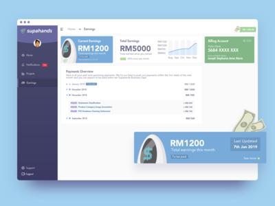 Earnings Page UI