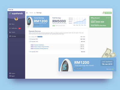 Earnings Page UI bot earnings money ux ui card pastel illustration minimal simple flat