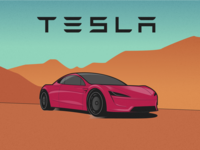 Tesla Roadster on mars