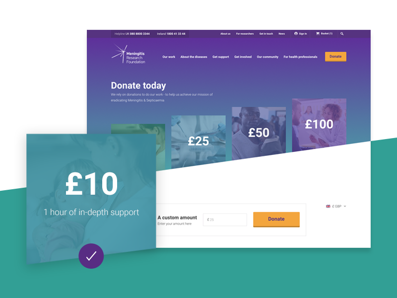 Meningitis Research Foundation x Delete case study website ux ui mobile layout gradient digital charity branding