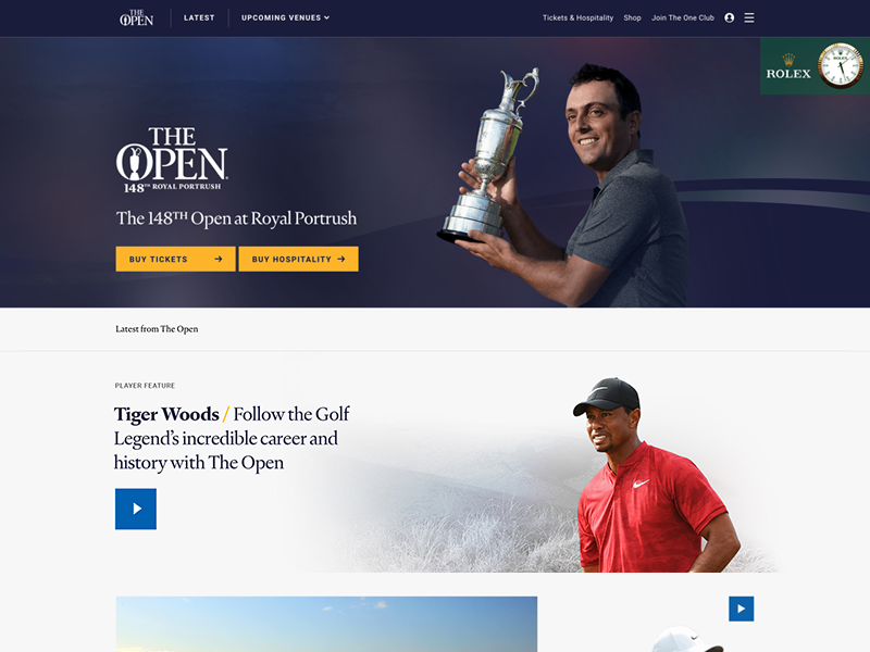 The Open x Delete web design interface clean the open golf sport ux ui digital case study website