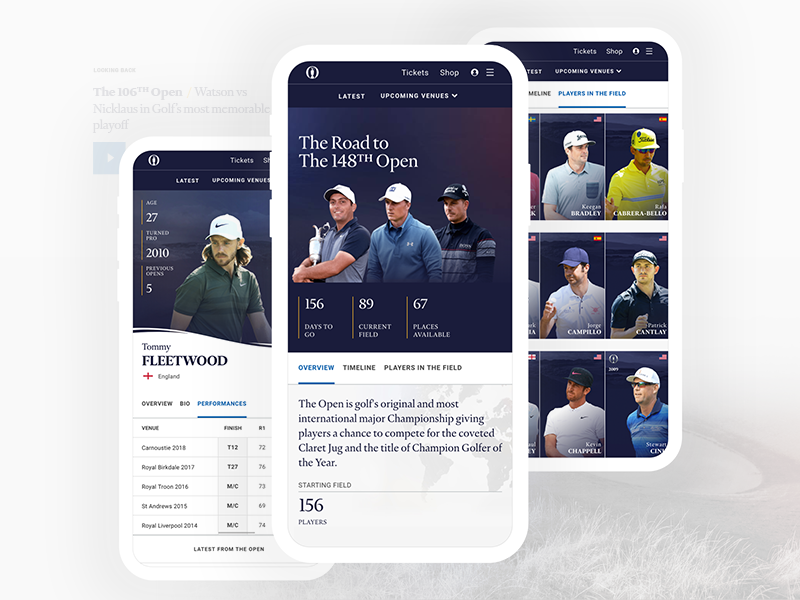 The Open x Delete mobile web design live interface clean the open golf sport ux ui digital case study website