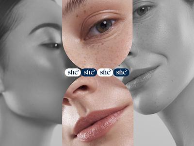 "Cosmetic brand ""She"" logo branding animation motion fashion site beauty design web ui"