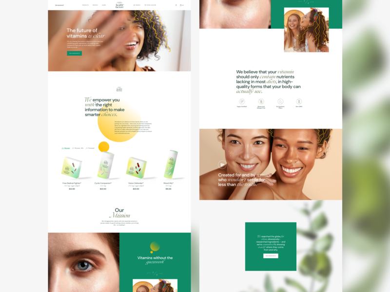 Health Factory illustration minimal landing photography design site shop beauty web ui