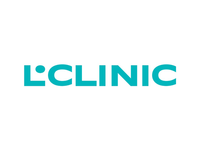 L.Clinic type typography care logo stomatology medicine health clinic