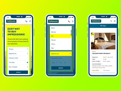 Tursales, responsive web-app design form modern interface yellow web-design sales travel webapp responsive