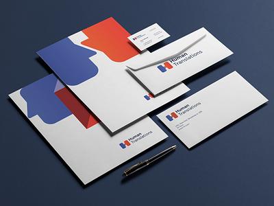 Stationary for Human translations logotype logo corporate identity identity stationary