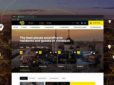Like&Go travel web-site black yellow wireframe design interface ui ux review travel