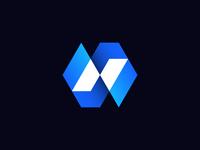 Letter N + Arrows + Slash Logo Concept