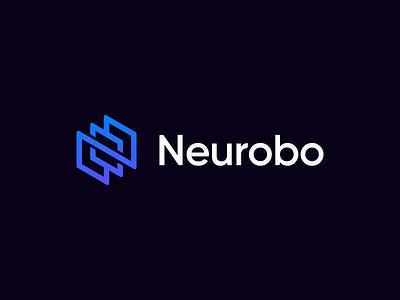 Neurobo. Unused logo concept blockchain cyber data slash development code brackets wire typography custom minimal flat hexagon molecule robot robotic arm circuit for sale unused logo