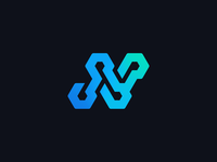 N + Circuit + Cubes Logo Concept