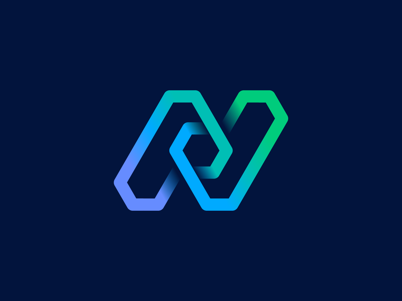 Northflank Final Logo Sign lettering letter n 3d cube arrow check mark honeycomb wire junction blockchain icon app deploy hexagon gradient path circuit identity branding logo