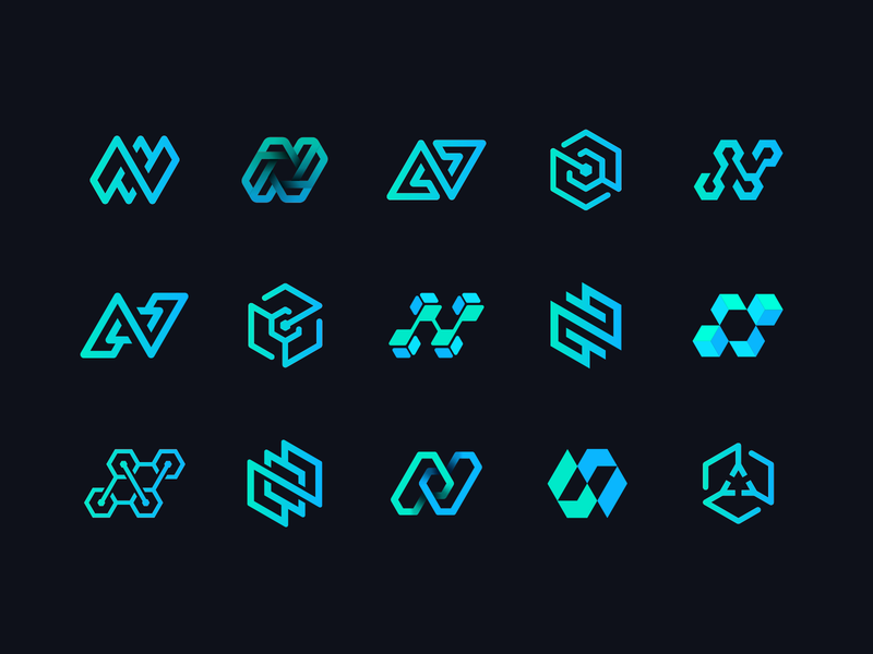 Northflank Draft Vector Sketches lettering letter n 3d cube arrow check mark honeycomb wire junction blockchain icon app deploy hexagon gradient path circuit identity branding logo