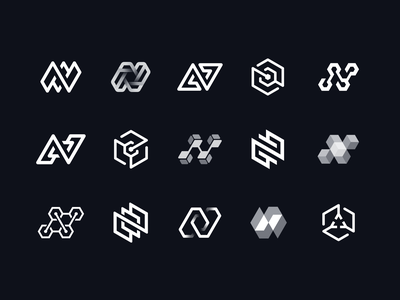 Northflank Draft Vector Sketches B/W Version logo branding identity circuit path gradient hexagon deploy app icon blockchain junction wire honeycomb check mark arrow cube 3d letter n lettering
