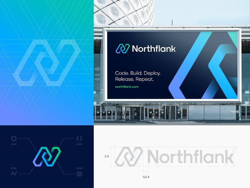 Northflank Branding Identity lettering letter n 3d cube arrow check mark hobeycomb wire junction blockchain icon app deploy hexagon gradient path circuit identity branding logo