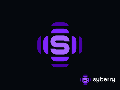Syberry Logo glitch star sun mobile startup unused berry cyber spectrum letter s waves ripple plus cross identity branding icon app