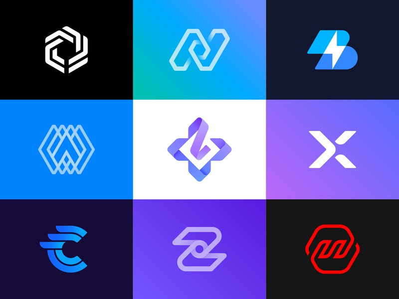 Logos and grids collection letter deploy development turbine motor fire circuit key diagram star medical gaming wing arrow d-pad bolt grid logo identity branding