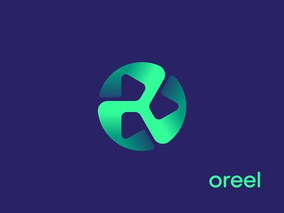 Oreel Logo Concept cinema logo reel logo film vr play augmented reality ar app icon pictogram unused icon gradient fan turbine junction hub letter o identity branding logo