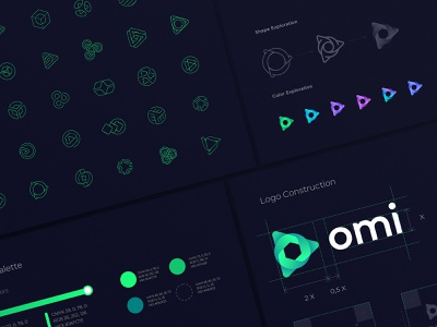 Omi Logo Exploration and Final Results brandbook palette sketches identity branding logo