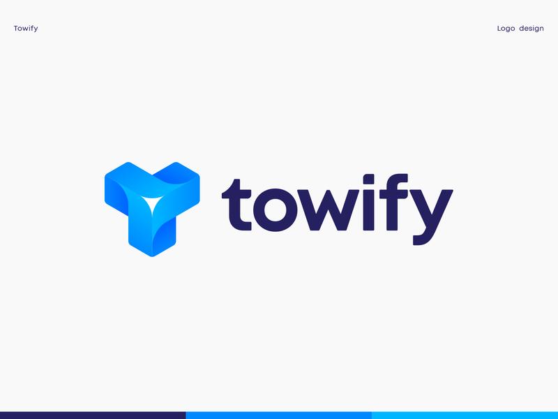 Towify Logo flower turbine mark symbol logotype letter t startup identity 3d logo isometry typography custom lettering logo branding