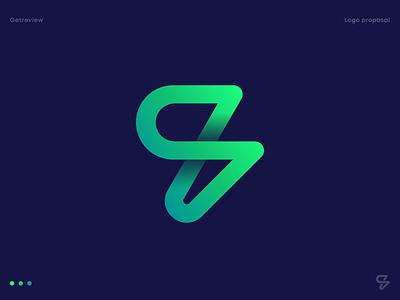 Getreview Logo Proposal neon perspective sign mark 3d logo icon app logo widget electric line lightning spark letter g loop bolt monogram gradient identity branding logo