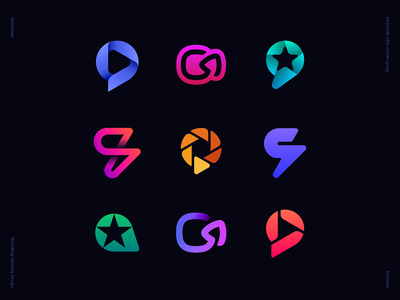 Getreview Draft Vector Sketches mark icon lens arrow aperture lightning bolt review message chat bubble star play video logo letter g gradient identity branding vector sketches logo