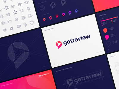 Getreview Logo Design Process and Guidelines arrow play logo bolt junction widget video logo sign typography letter g bubble chat review message grid color palette sketches guideline identity branding logo