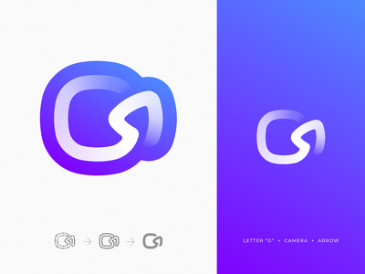 "Camera + Arrow + Letter ""G"" Unused Logo gradient letter c widget app logo icon repeat letter g reply record play camera video icon review cycle loop arrow branding unused identity logo"