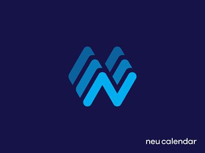 Neu Calendar Logo letter n waves calendar branding logo