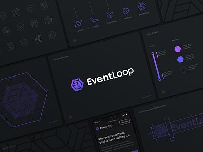 Event Loop Logo Guidelines education logo theme education arrows dark letter l letter e cube hexagon gradient brandbook identity branding logo