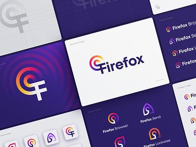 Firefox Rebranding Concept zoom arrow eye lock brandbook unused typography custom fire firefox waves letter f gradient app icon app logo browser icons logo rebranding branding