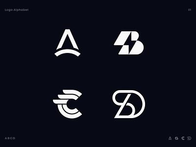 Logo Alphabet 01 typography type negative space line spark diagram lightning bridge wings bolt icon identity branding letter d letter c letter b letter a lettering alphabet logo