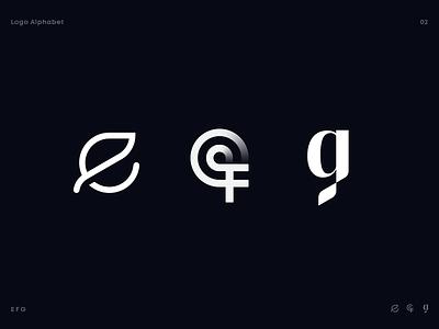 Logo Alphabet 02 natural tech load startup mark type typography lettering gradient orbit leaf icon logo alphabet alphabet letter g letter f letter e identity branding logo