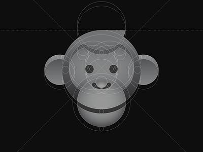 Golden Ratio Monkey head circles 3d logo ape chimpanzee chimp stroke gradient mark animal geometric identity grid logo monkey branding golden ratio