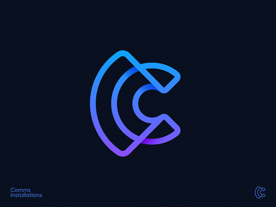 Comms Installations Logo crypto wire blockchain tech stripes pictogram wing user icon outline linear lettering identity branding 3d logo gradient signal waves wifi letter c logo