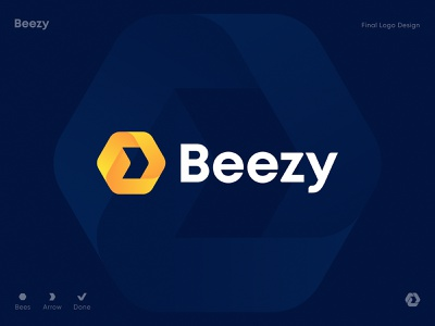 Beezy Final Logo Design workplace online startup coworking corporation microsoft collaboration software manager team task checkmark business bee honeycomb hexagon arrow identity branding logo