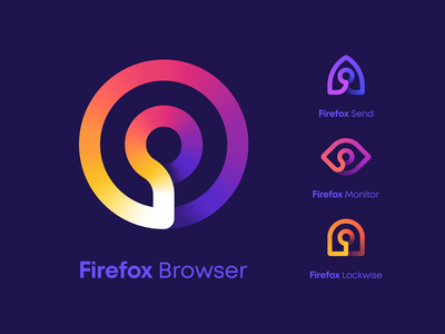Firefox Product Icons gradient arrow rocket security lock eye logo eye mark browser icon identity branding logo
