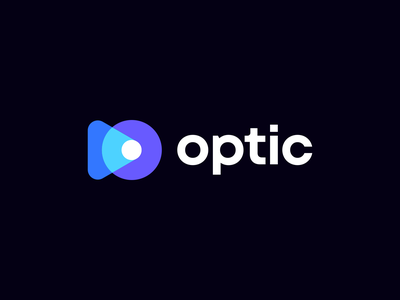 Optic Logo Concept lense for sale unused augmented reality ar player logo video logo camera light projector rays play icon identity branding logo